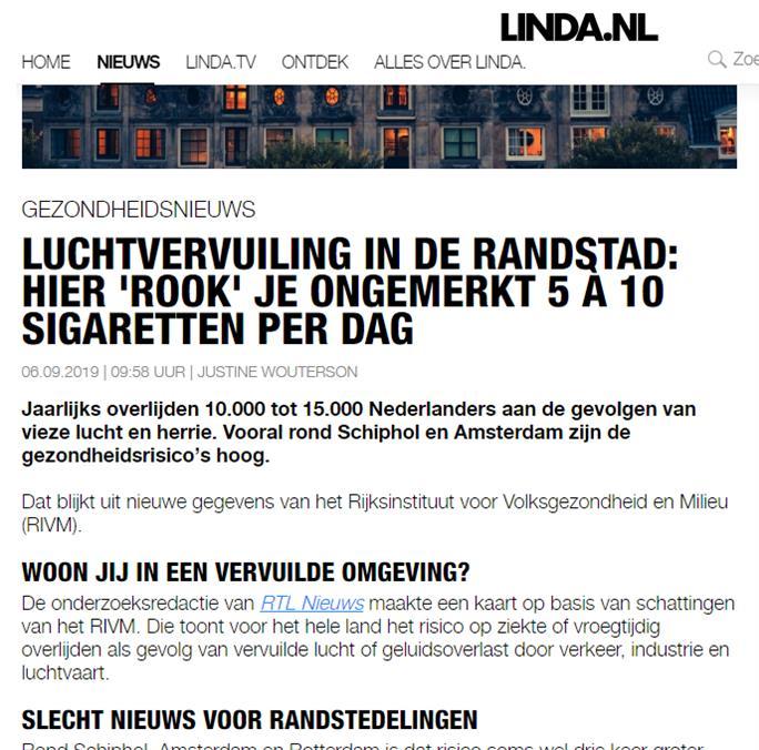 De buitenlucht kwaliteit in de Randstad is slecht. Iedereen loopt hier gezondheidsrisico's op.