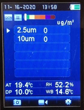 Fijnstofmeter weergave