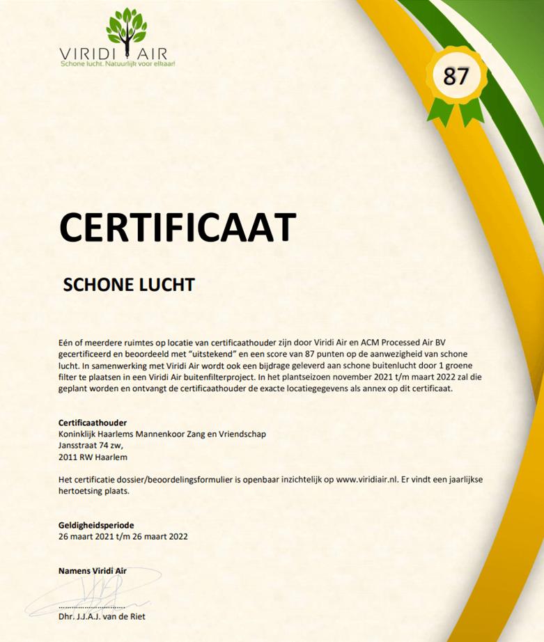 Ruimte certificatie op schone lucht - certificaat