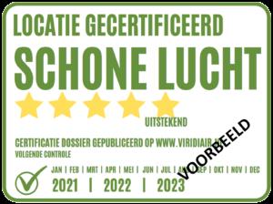 Schone Lucht - ruimte certificatie Voorbeeld - sticker
